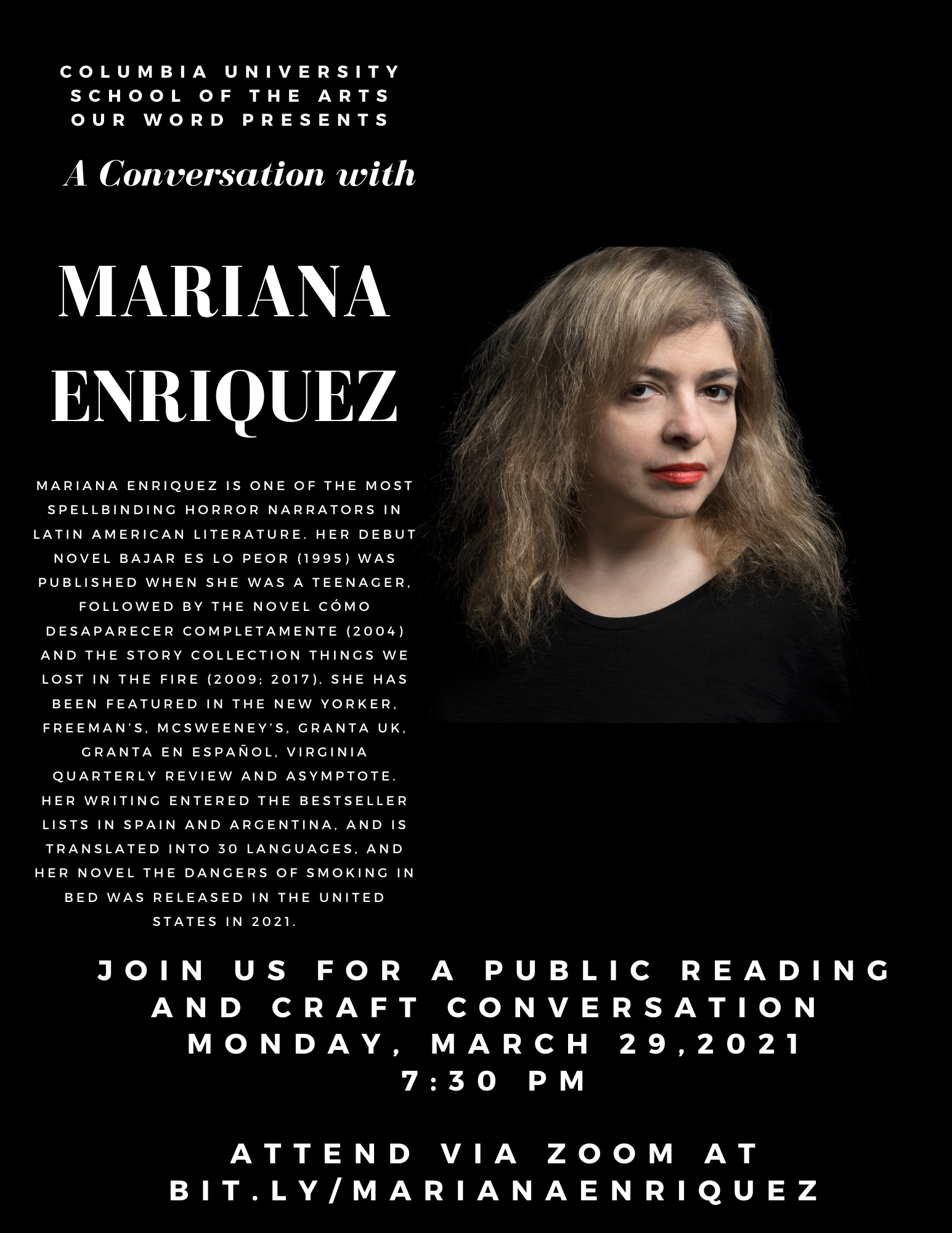 Mariana Enriquez Our Word Event poster