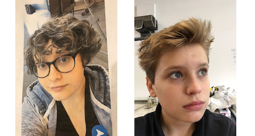 Side by side pictures of two teenagers: Ruby (left) and has curly, brown hair and glasses. Hart (right) has short blond hair.